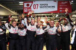 Toyota Gazoo Racing team members celebrate the victory
