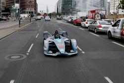 Formula 1 World Champion, Nico Rosberg, drives the Formula E Gen2 car around the streets of Berlin