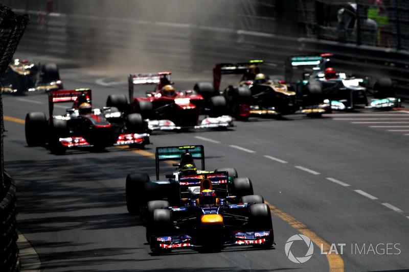 Mark Webber, Red Bull Racing RB8, Nico Rosberg, Mercedes F1 W03, Lewis Hamilton, McLaren MP4-27, Fernando Alonso, Ferrari F2012, Romain Grosjean, Lotus E20 y Michael Schumacher, Mercedes F1 W03