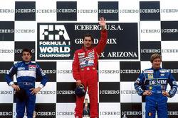 Podium: race winner Ayrton Senna, Mclaren, second place Jean Alesi, Tyrrell, third place Thierry Boutsen, Williams