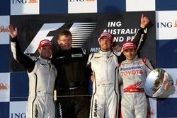 Podium: second place Rubens Barrichello, Brawn GP, Ross Brawn, Brawn GP Team Principal, Jenson Button, Brawn GP, third place Jarno Trulli, Toyota