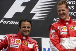 Podio: ganador de la carrera Michael Schumacher, Ferrari, segundo lugar Felipe Massa, Ferrari