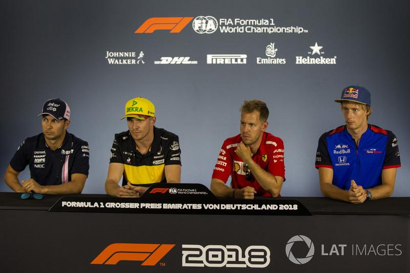 Sergio Perez, Force India, Nico Hulkenberg, Renault Sport F1 Team, Sebastian Vettel, Ferrari y Pierre Gasly, Scuderia Toro Rosso en rueda de prensa