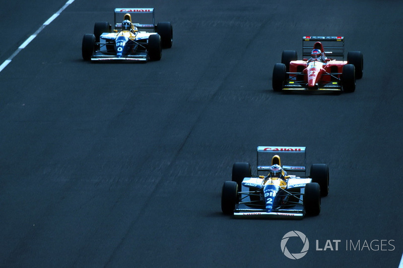 Alain Prost, Williams leads Jean Alesi, Ferrari and Damon Hill, Williams