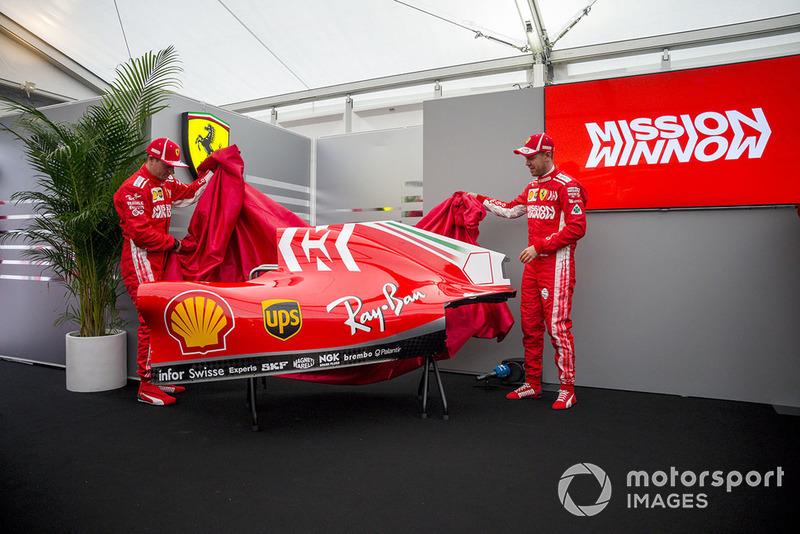 Kimi Raikkonen, Ferrari y Sebastian Vettel, Ferrari revelan la nueva decoración de Ferrari SF71H