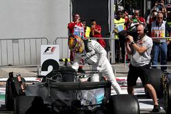 Race winner Lewis Hamilton, Mercedes AMG F1 arrives and celebrates in parc ferme