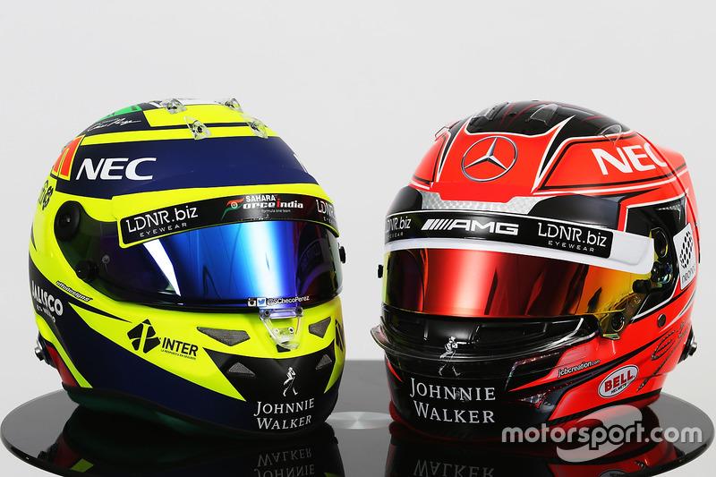 Die Helme von Sergio Perez und Esteban Ocon, Sahara Force India F1 Team