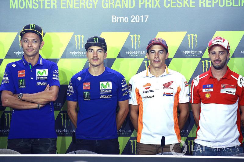 Валентино Россі, Yamaha Factory Racing, Маверік Віньялес, Yamaha Factory Racing, Марк Маркес, Repsol Honda Team, Андреа Довіціозо, Ducati Team