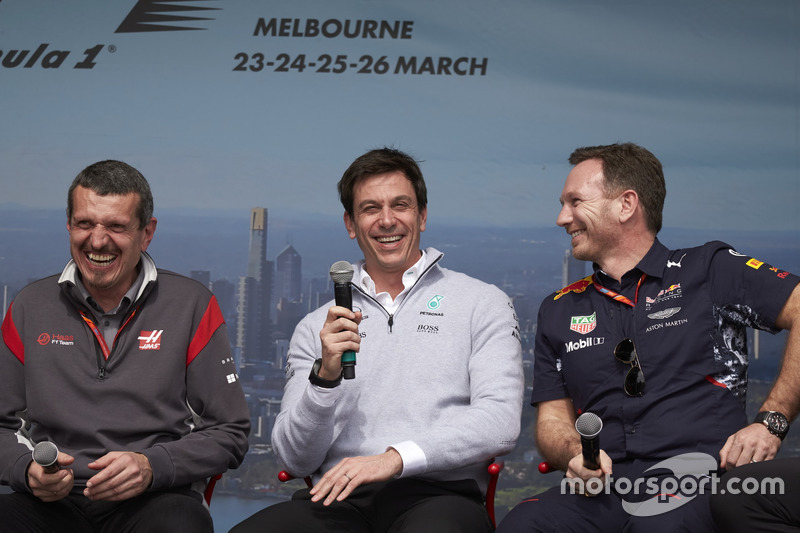 Guenther Steiner, Haas F1 Team, Toto Wolff, Mercedes AMG, y Christian Horner, Red Bull Racing