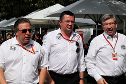 Zak Brown, McLaren Executive Director with Eric Boullier, McLaren Racing Director and Ross Brawn, Ma