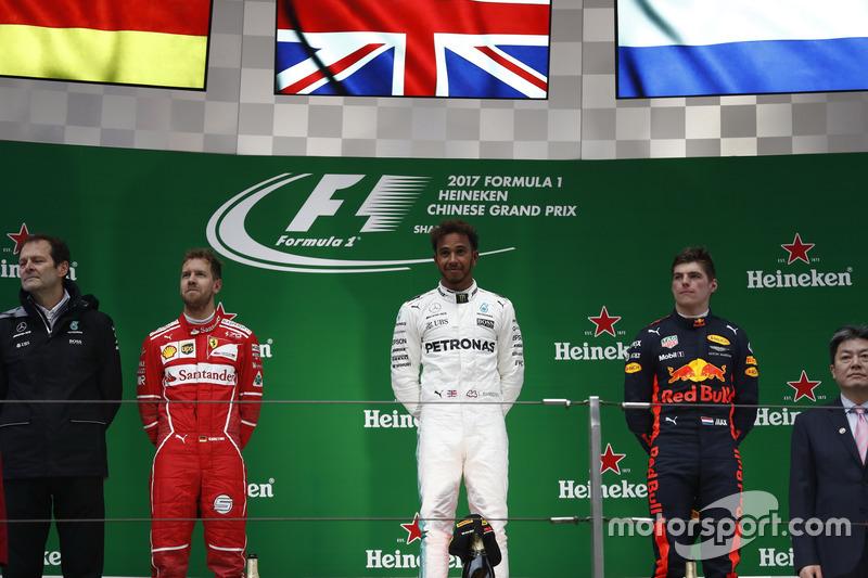 Podium: 1. Lewis Hamilton, Mercedes AMG; 2. Sebastian Vettel, Ferrari; 3. Max Verstappen, Red Bull Racing