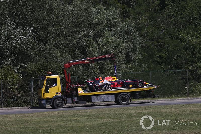 Болід Даніель Ріккардо, Red Bull Racing RB13, повертають у бокси