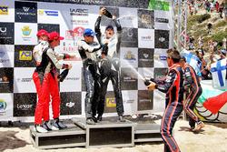 Podium: second place Jari-Matti Latvala, Miikka Anttila, Toyota Yaris WRC, Toyota Racing, Winners Ott Tänak, Martin Järveoja, M-Sport, Ford Fiesta WRC, third place Thierry Neuville, Nicolas Gilsoul, Hyundai Motorsport, Hyundai i20 Coupe WRC