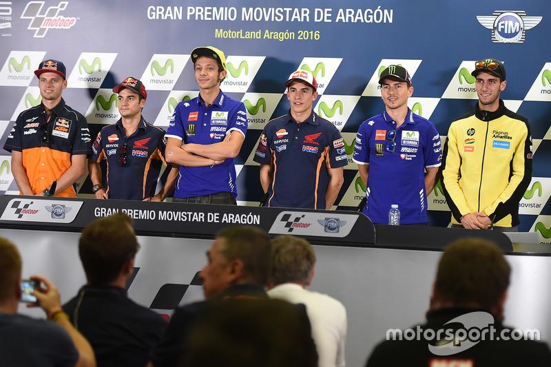 Brad Binder, Red Bull KTM Ajo; Dani Pedrosa, Repsol Honda Team; Valentino Rossi, Yamaha Factory Raci