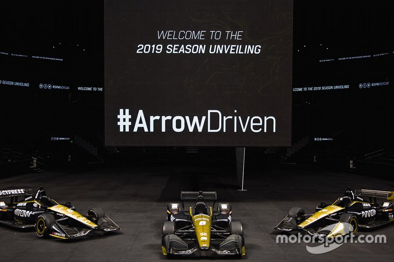 Arrow Schmidt Peterson Motorsports cars of James Hinchcliffe, Robert Wickens and Marcus Ericsson.