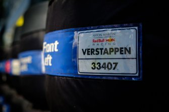Pirelli tyres under cover for Max Verstappen, Red Bull Racing