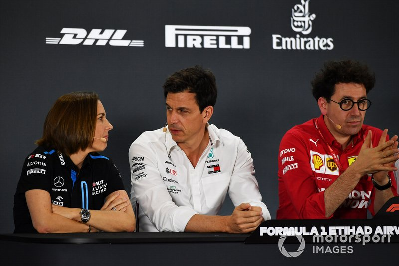 Claire Williams, Deputy Team Principal, Williams Racing, Toto Wolff, Executive Director (Business), Mercedes AMG, and Mattia Binotto, Team Principal Ferrari
