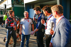 Sixth placed Romain Grosjean, Haas F1 Team with Gene Haas, Haas Automotion President; Steve Jones, C