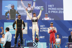 Race winner Sam Bird, DS Virgin Racing, celebrates on the podium with second place Jean-Eric Vergne, Techeetah, third place Nick Heidfeld, Mahindra Racing