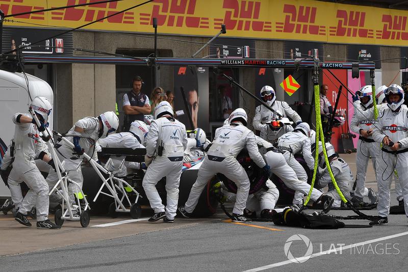 Sergey Sirotkin, Williams FW41 pit stop