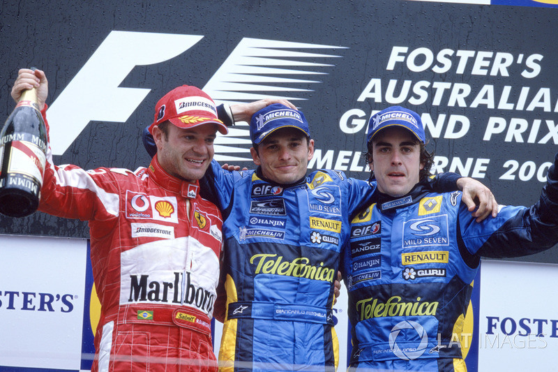2005: 1. Giancarlo Fisichella, 2. Rubens Barrichello, 3. Fernando Alonso