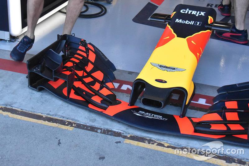 Detalle del ala frontal Red Bull Racing RB14
