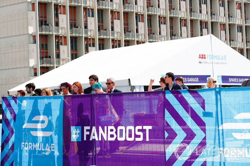 Fans overlooking the track from the the Fanboost Village