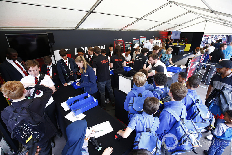 Schoolchildren visit one of the various projects aimed at generating an interest in motor racing amo