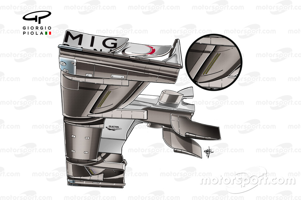 Mercedes W03 underside of the front wing, note the slot which is used to 'stall' the wing when the DRS is activated