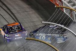 Crash: Denny Hamlin, Joe Gibbs Racing Toyota, Martin Truex Jr., Furniture Row Racing Toyota