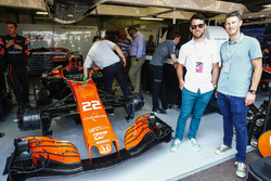 Cyclists Mark Cavendish and Mark Renshaw in the McLaren garage