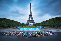 Formula E cars lined-up