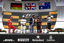 Podium:  second place Sebastian Vettel, Ferrari, Race winner Lewis Hamilton, Mercedes AMG F1, Mark Webber interviews third place Daniel Ricciardo, Red Bull Racing