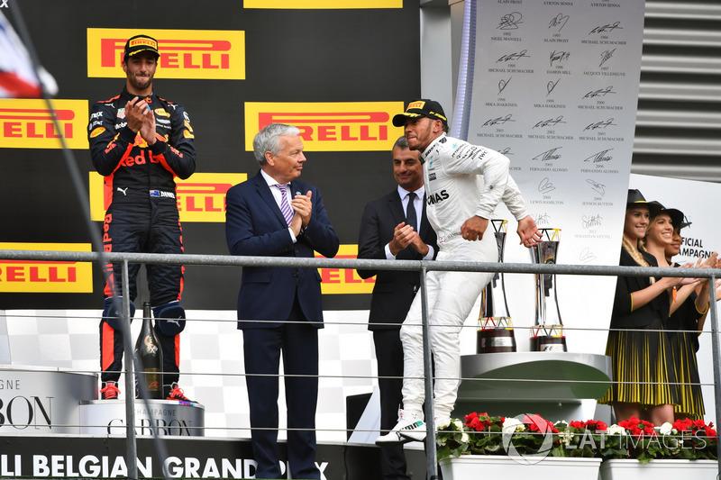 Race winner Lewis Hamilton, Mercedes AMG F1, celebrates on the podium