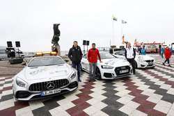 Paul Di Resta, Mercedes-AMG Team HWA, Mercedes-AMG C63 DTM, Loic Duval, Audi Sport Team Phoenix, Audi RS 5 DTM, Maxime Martin, BMW Team RBM, BMW M4 DTM met de safety cars