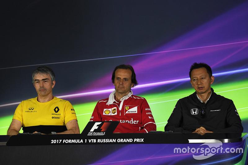 Nick Chester, Renault Sport F1 Team Technical Director, Luigi Fraboni, Ferrari Head of Engine Trackside Operations and Yusuke Hasegawa, Head of Honda Motorsport