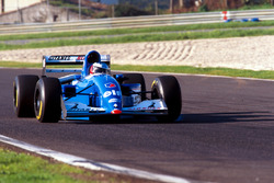 Michael Schumacher tests the Ligier JS39B Renault to evaluate the Renault V10 engine