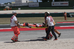 Chaz Davies, Ducati Team being taken away on a stretcher