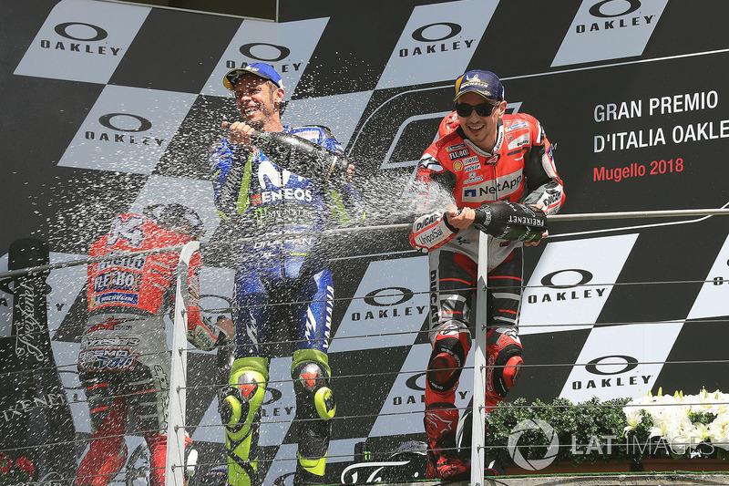 Podio: il vincitore della gara Jorge Lorenzo, Ducati Team, il secondo classificato Andrea Dovizioso, Ducati Team, il terzo classificato Valentino Rossi, Yamaha Factory Racing