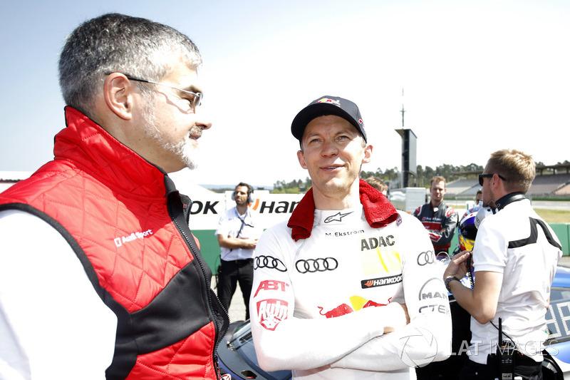 Dieter Gass, Head of DTM Audi Sport, bersama Mattias Ekström, Audi Sport Team Abt Sportsline