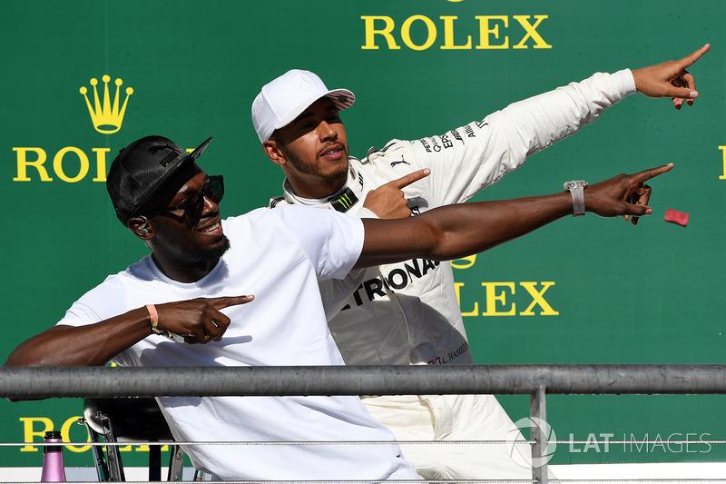 Lewis Hamilton, Mercedes AMG F1 avec Usain Bolt