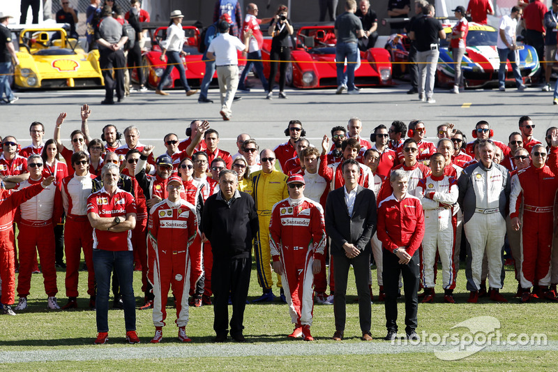 Maurizio Arrivabene, Team principal Ferrari; Sebastian Vettel, Ferrari; Sergio Marchionne, President