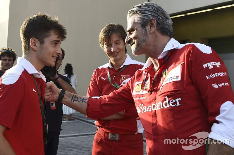 Charles Leclerc, Maurizio Arrivabene, Ferrari Team Principal
