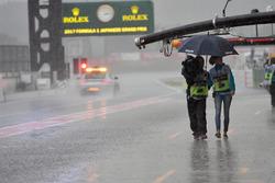 Rain in pit lane