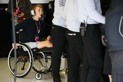Recovering British Formula 4 driver Billy Monger visits the AMG Mercedes garage