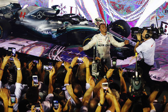 Lewis Hamilton, Mercedes AMG F1 W09 EQ Power+, celebrates in Parc Ferme after winning the race
