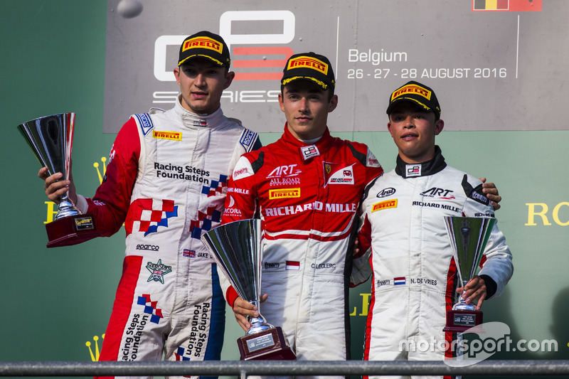 Podium: winner Charles Leclerc, ART Grand Prix, second place Jake Dennis, Arden International, third place Nyck De Vries, ART Grand Prix