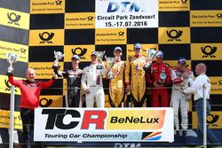 Romain de Leval/Alexis Van de Poele, Delahaye Racing, VW Golf TCR, Sam Dejonghe/Denis Dupont, RACB National Team, Seat Leon TCR en Norbert Michelisz/Stéphane Lemeret, Boutsen Ginion Racing, Honda Civic TCR
