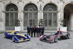 Alejandro Agag, Formula E CEO, Alain Prost, Renault e.Dams, Anne Hidalgo, mayor of Paris, Jean Todt, FIA president, Rachida Dati, 7th district of Paris mayor, Patrick Kanner, French Sports Minister