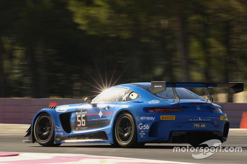 #56 Black Falcon Mercedes AMG GT3: Oliver Morley, Miguel Toril, Maro Engel